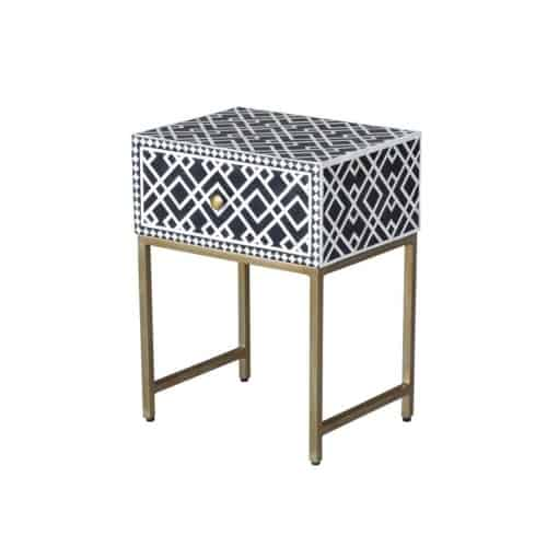 Ethically sourced bone inlay black side table side on view