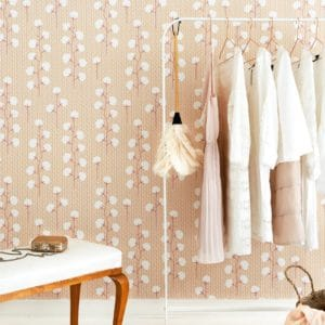 Sweet Cotton wallpaper cotton branch pattern in soft pink in room