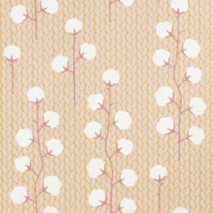 Sweet Cotton wallpaper close up of cotton branch pattern in soft pink