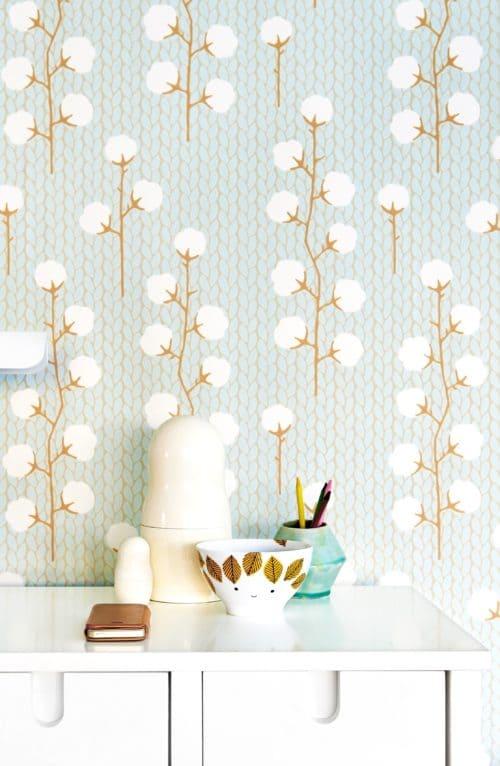 Sweet Cotton Blue wallpaper close up detail