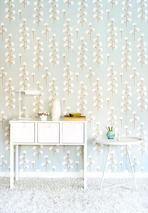 Sweet Cotton Blue wallpaper in room