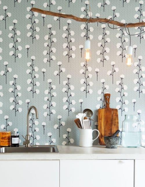 Sweet Cotton Grey wallpaper in kitchen