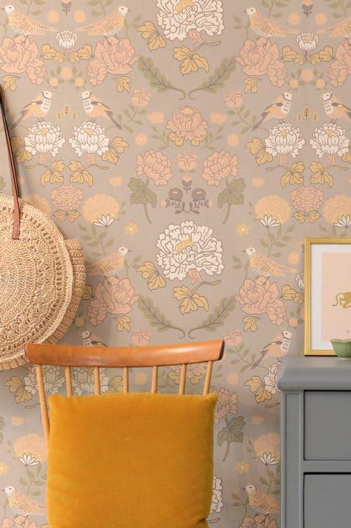 Mindful Grey Majvillan wallpaper close up in hallway