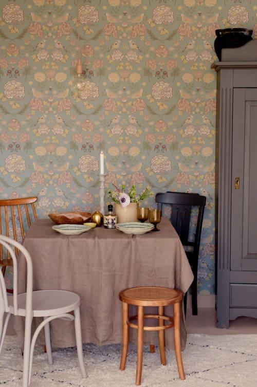 Sage green Majvillan wallpaper dining room