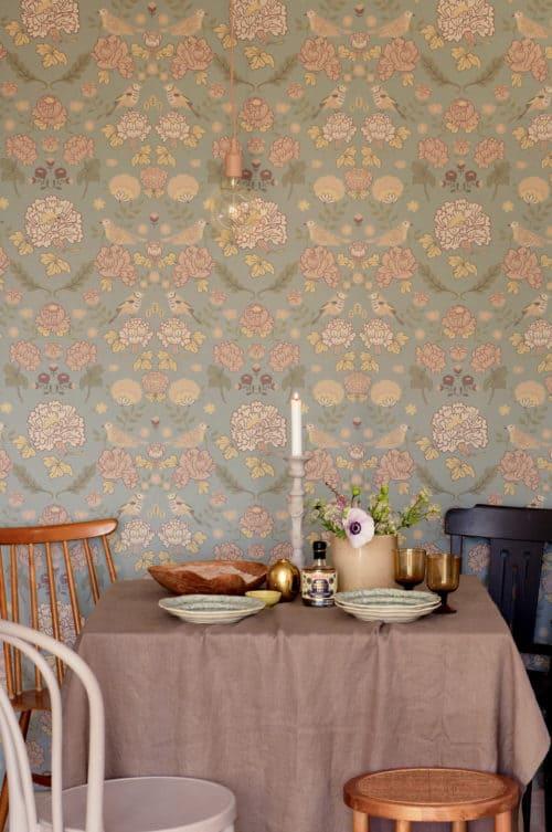 Sage green Majvillan wallpaper in dining room
