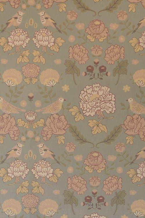 Sage green Majvillan wallpaper close up detail