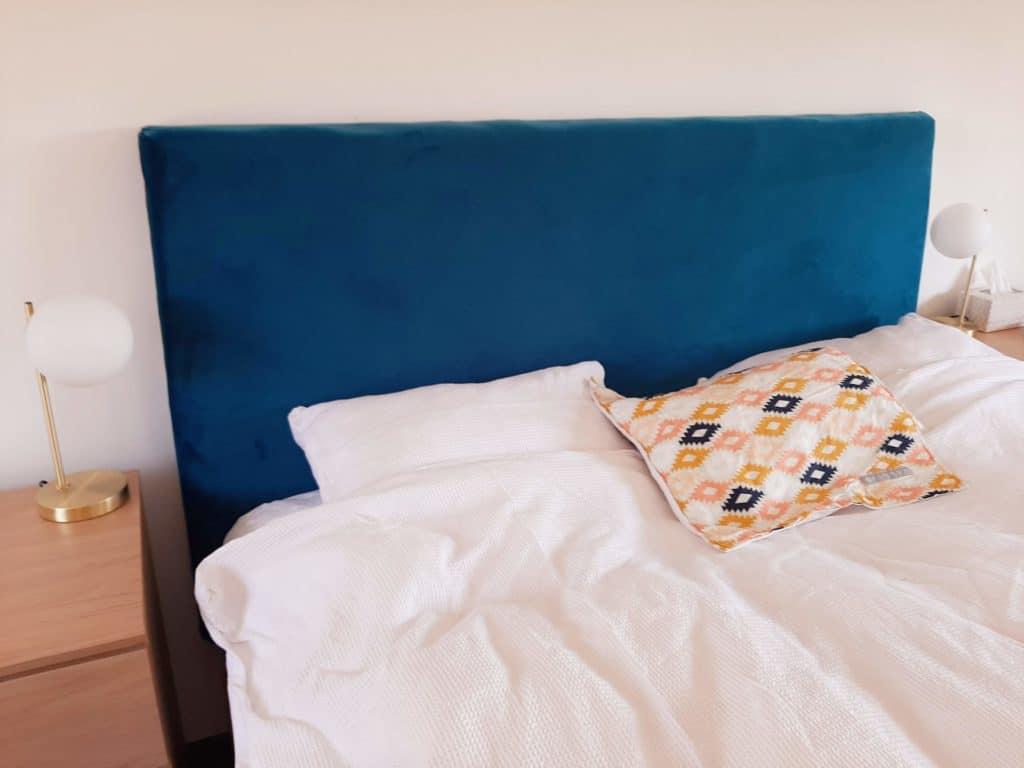 DIY upholstered headboard in teal velvet - finished