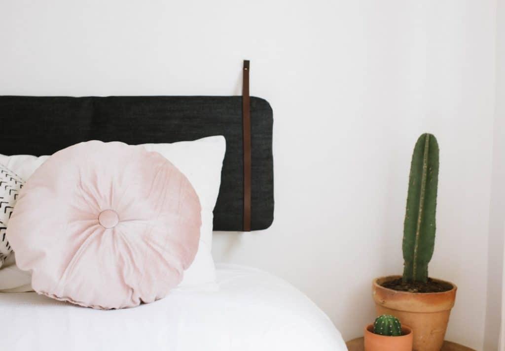 DIY Ikea cushion hack handing headboard