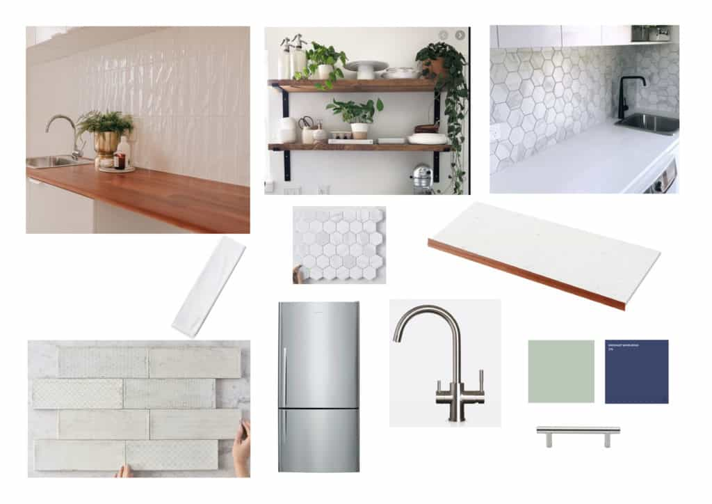Kitchen buget reno moodboard with blue cabinets, stainless steel hardware and appliances, white tiles