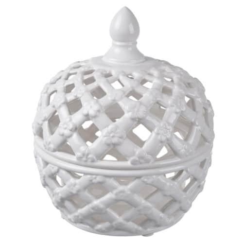 Lattice decorative lidded jar