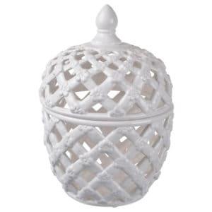 Lattice decorative lidded jar tall