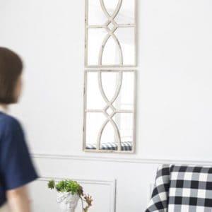 Vintage white Mirror Pair on wall