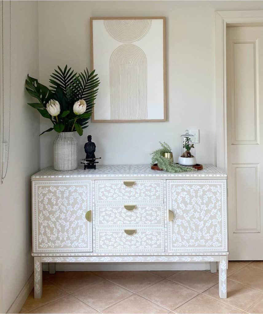 Vintage sideboard makeover. Bone inlay effect using stencils and paint.